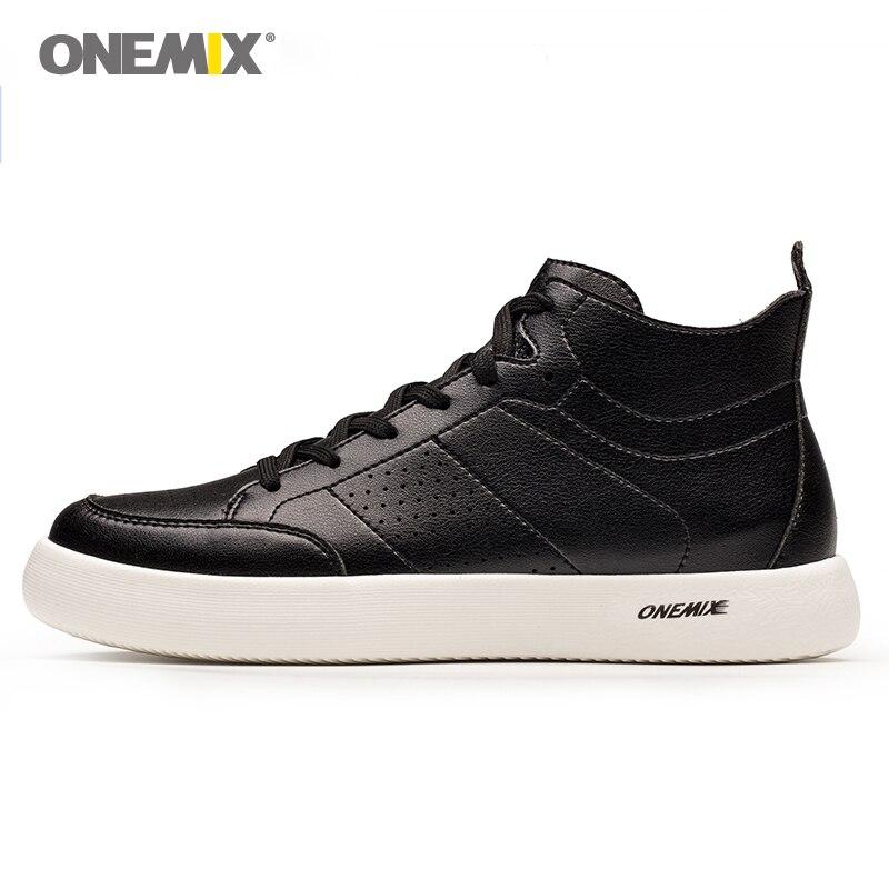 ONEMIX chaussures de skate lumière cool sneakers souple micro fiber de tige en cuir élastique semelle hommes chaussures de marche EUR taille 39- 45