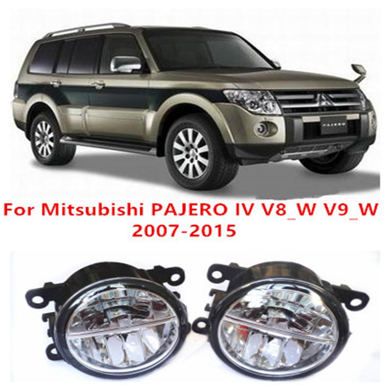For Mitsubishi PAJERO IV V8_W V9_W    2007-2015 Fog Lamps LED Car Styling 10W Yellow White 2016 new lights car styling led fog lights for mitsubishi pajero iv v8 w v9 w closed off road vehicle 2007 2012 fog lamps 10w drl 1set
