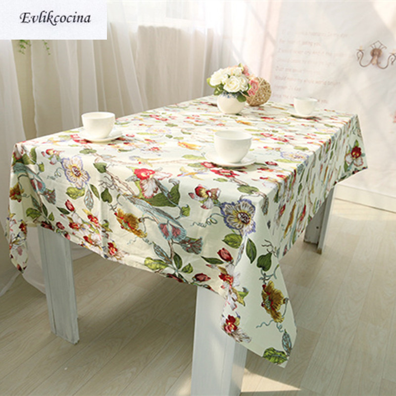 Free Shiping Flowers Birds White Tablecloth Home/Hotel/Diner Table Cover Mantel De Mesa Multifunction Printed Flax Covered Cloth