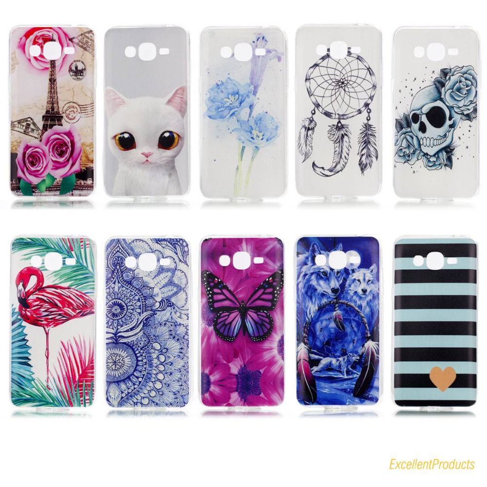 Soft TPU Silicone phone case cover For Samsung J2 PRIME fashion Flamingos Wolf Eiffel Tower butterfly Painted phone shell bags