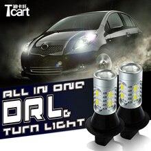 Tcart для Toyota Avensis T20 Авто LEDDRL указатель поворота автомобиля лампы T20 WY21W 7440 дневного света для огни автомобиля