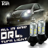 Tcart For Toyota Avensis T20 Auto LEDDRL Turn Signal Light Car Lamps T20 WY21W 7440 daytime running light for car lights