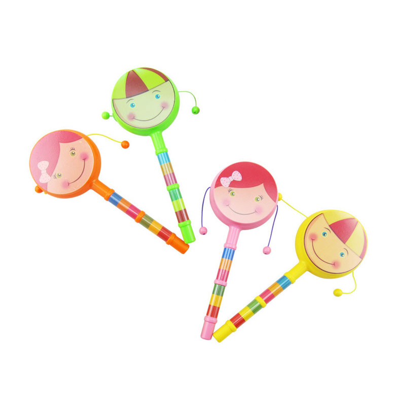 1 PCS 4 Color Carton Cute Lovely Educational Stick Hand Shake Bell Rattles Baby Kids Children Toy Random Delivery for Baby ...