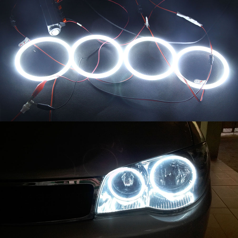 4pcs 3014SMD Led Angel Eyes Headlight For Hyundai Sonata 2002 2003 2004 2005 Ultra Bright Led Halo Light lamp OEM Replacement free shipping 2003 2005 nissans 350 z auto headlight led headlamp with angel eyes best quality h7 or d2h xenon lamp