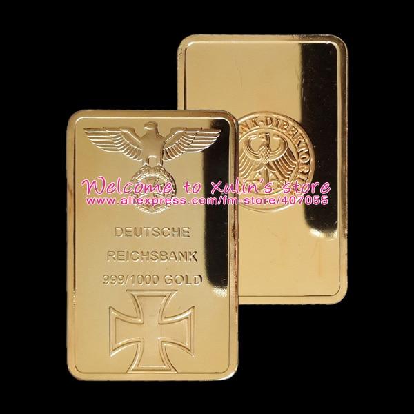XDA0003I Germany 1 Oz Gold Plated Bullion Bar 5 Pcs 999/1000 Gold Clad Deutsche Eagle with Cross