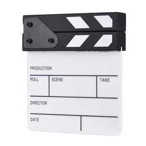Andoer ClapperBoard Compact Size Acrylic Film Clapboard Dry Erase TV Movie Director Cut Video Action Scene Clapper Board Slate