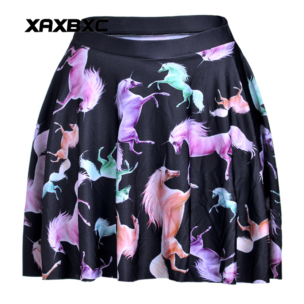 NEW 1085 Summer Harajuku Sexy Girl Colorful Unicorn Black Printed Cheering Squad Tutu Skater Women Mini Pleated Skirt Plus Size