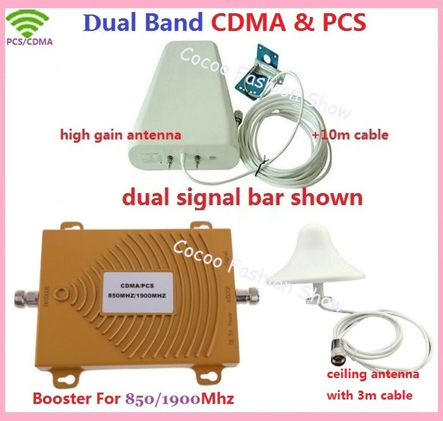 Nueva Banda Dual 3G Mobile Booster de Señal 850 MHz 1900 MHz GSM CDMA PCS Repetidor de Señal de Teléfono Celular Amplificador de Señal con la Antena