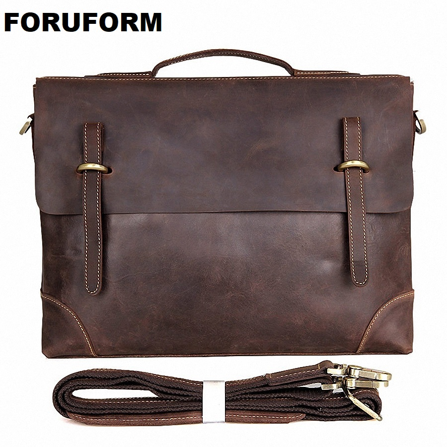 Genuine Leather Men Bag Crazy Horse Leather Men's Handbags Casual Business Laptop Shoulder Bags Briefcase Messenger Bag LI-1753 цены