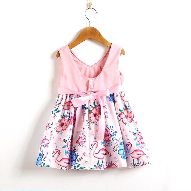 Lace Flamingo Party 2018 Kids Baby Girls Dress Sundresses Toddler Floral  Princess Sundress Children Clothes 268288479fff