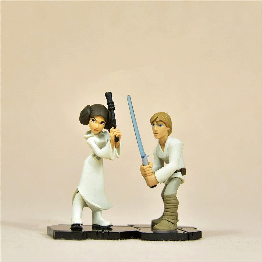 1 piezas 10 cm = 3,9 ''Star Wars 7 Darth vader Luke Skywalker Leia modelo decoración PVC acción juguete figura muñeca