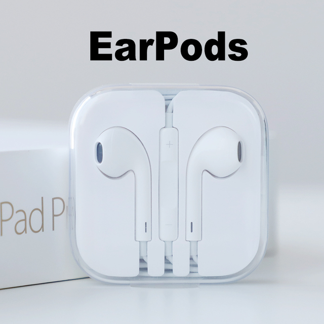 Original Apple Earpods with 3.5mm Plug. In-ear earphones for iPhone with Microphone Russian Warehouse Simple/Retail Package