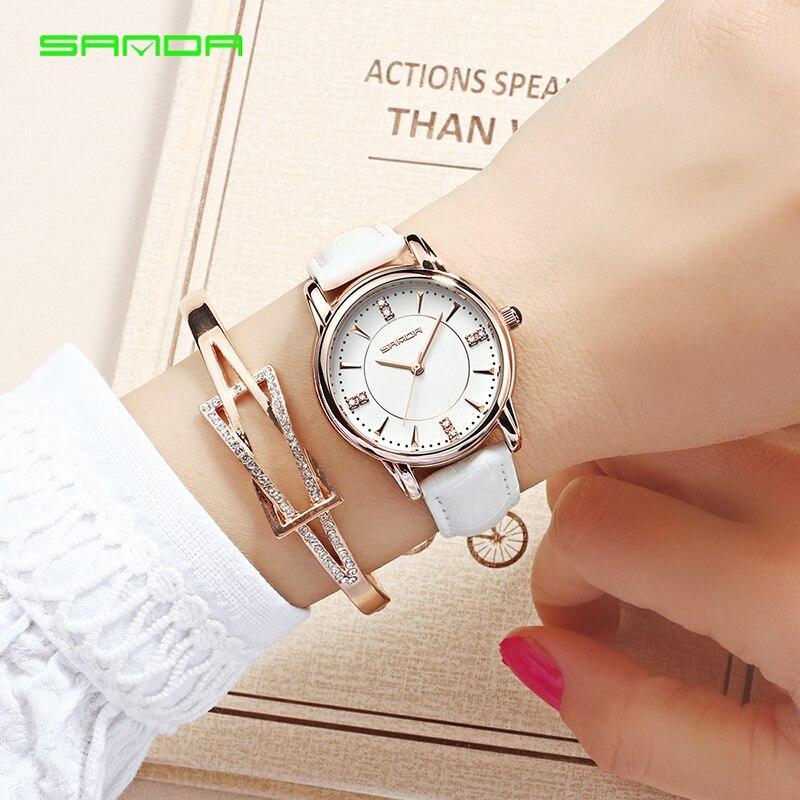 SANDA Brand Watch Women's Watch Relogio Feminino Leather Strap Waterproof Fashion Casual Women Quartz Watch