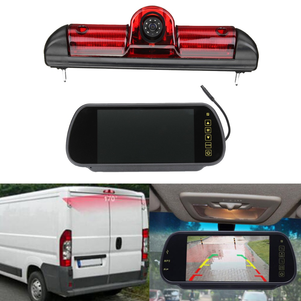 LED IR Brake Light Rear View Reversing Parking Camera & 7 Inch Monitor Kit for Fiat Ducato For Citroen Relay for Peugeot Boxer 3 in1 special rear view camera wireless receiver mirror monitor back up parking system for citroen ds3 ds 3 2009 2015