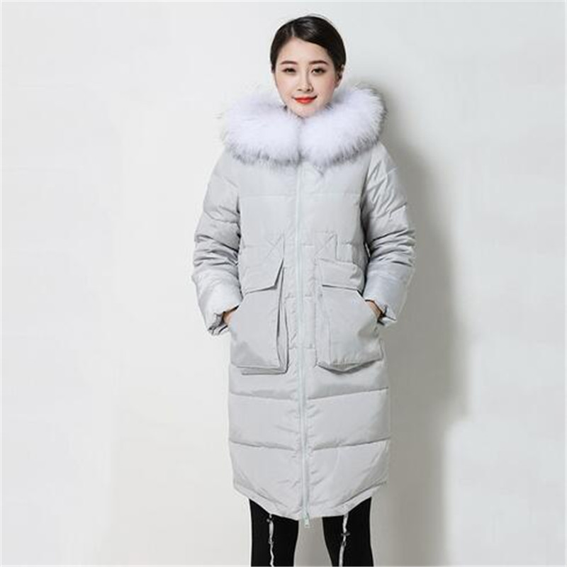 New Big Size Winter Duck Down Jacket Women Long Coat Parkas Thickening Female Warm Clothes Rabbit Fur Collar High Quality A2232 2017 winter new clothes to overcome the coat of women in the long reed rabbit hair fur fur coat fox raccoon fur collar