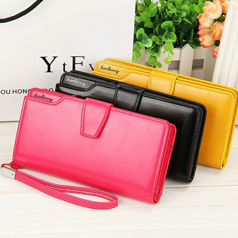 New Candy Color Women Casual Long PU Leather Wallet Zipper Purse For Girl Female Plastic Credit Card Holder Clutch Phone Wallet