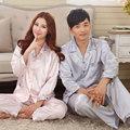 Parejas de primavera y otoño de manga larga pijamas de seda de los hombres y las mujeres con sección delgada de seda otoño traje a casa de verano paquete