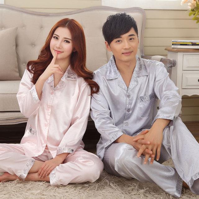 Primavera e no outono longo-sleeved casais pijamas de seda dos homens e mulheres com seção fina seda outono casa terno verão pacote