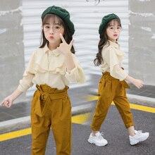 Kid Autumn Summer Teenage Girls Clothing Children Blouse High Waist Pants Outfit Sets недорого