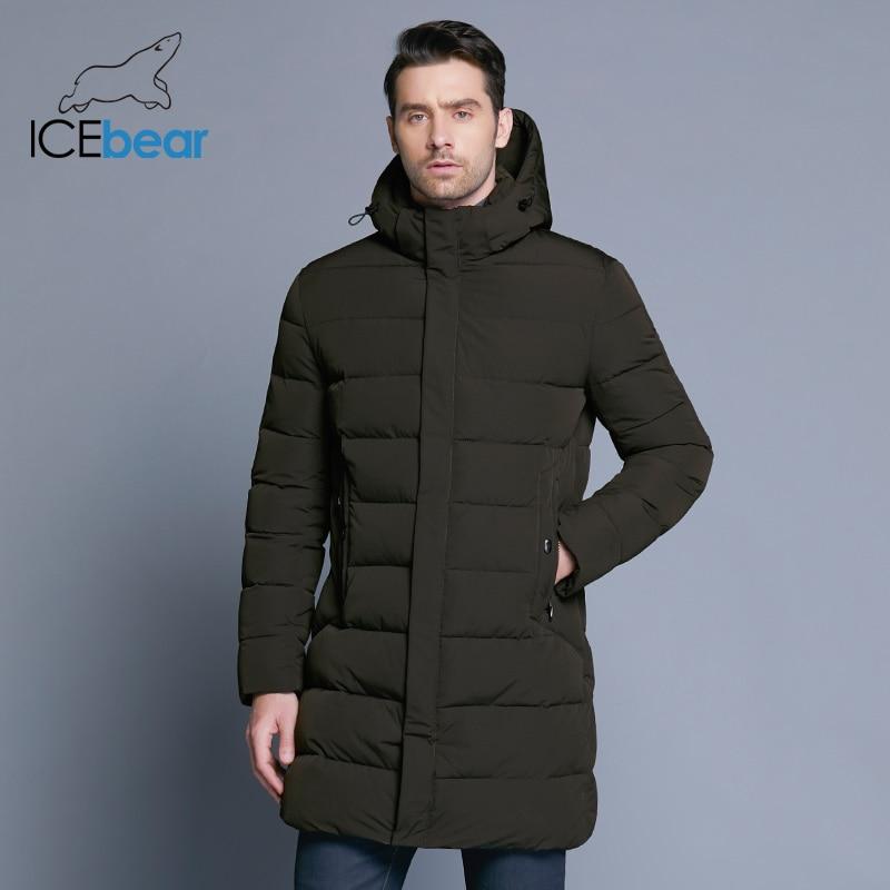 Erkek Kıyafeti'ten Parkalar'de ICEbear 2018 Kış Ceket Erkekler Şapka Ayrılabilir sıcak tutan kaban Rahat Parkas Pamuk Yastıklı Kış Ceket Erkek Giyim MWD18821D'da  Grup 2