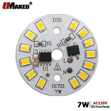 220V LED PCB 7W Dia35mm SMD2835 630lm LED Module Aluminum lamp plate With Smart IC Driver Bulb Pannel Dowlight Source Warm/White