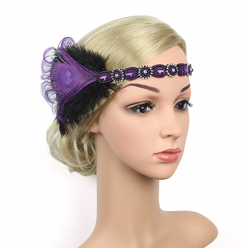 1920s Great Gatsby Flapper Headbands Deluxe Rhinestone Headpiece with Peacock Feather Flapper Girl Jewel Hair Accessories