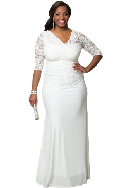 Y Party Dress Full Figured Womens Elegant Half Sleeves Gown Plus Size Autumn Winter
