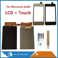 Cep telefonları ve Telekomünikasyon Ürünleri'ten Cep Telefonu Dokunmatik Paneli'de 4.0 Inç Micromax Bolt Q402 Bharat 2 Q402 Ayrı Dokunmatik Ekran Ve LCD Ekran Ekran Siyah Altın Rengi araçları Bant