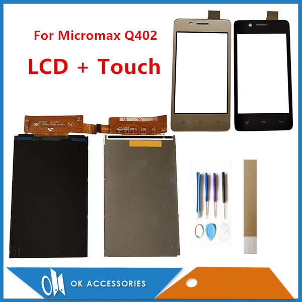 4.0 Inch For <font><b>Micromax</b></font> Bolt <font><b>Q402</b></font> Bharat 2 <font><b>Q402</b></font> Seperate Touch Screen And <font><b>LCD</b></font> Screen Display Black Gold Color With Tools Tape image