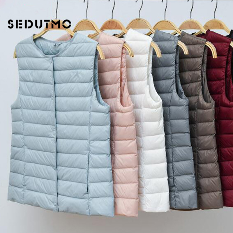 SEDUTMO Winter Plus Size 4XL Women Down Vest Jackets Short Ultra Light  Duck Down Coat  Slim Black Waistcoat ED615