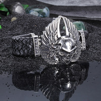 Europe And The United States Fashion Jewelry Angel Wings Skull Hand Handmade Leather Men S Bracelet