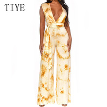 TIYE Sexy Deep V-neck Cross Bandage Loose Jumpsuits with Belt Elegant Hollow Out Wide Leg Playsuits Women Casual Summer Wear
