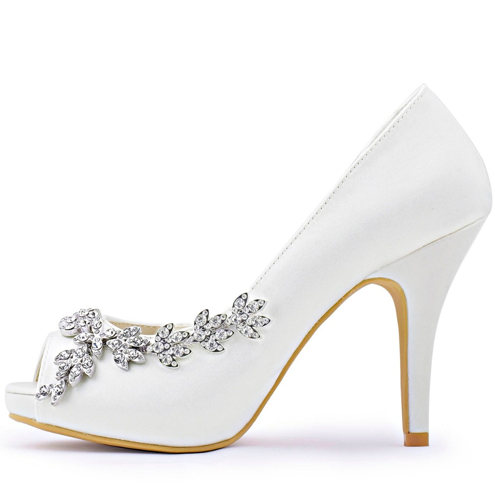 Women Shoes Wedding Bridal Platform High Heel Ivory White Crystal Peep toe  Bride Bridesmaid ladies Prom Pumps Navy Blue HP1560IA-in Women s Pumps from  Shoes ... e33990475259