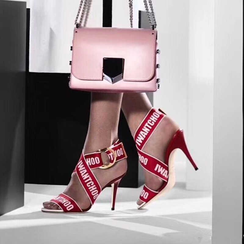 Sandalias Mujer Crossover Sandali Gladiatore Scarpe Da Donna Dell'involucro Della Caviglia Stileto Degli Alti Talloni di Marca di Lusso Peep Toe Scarpe Da Donna di Partito 42