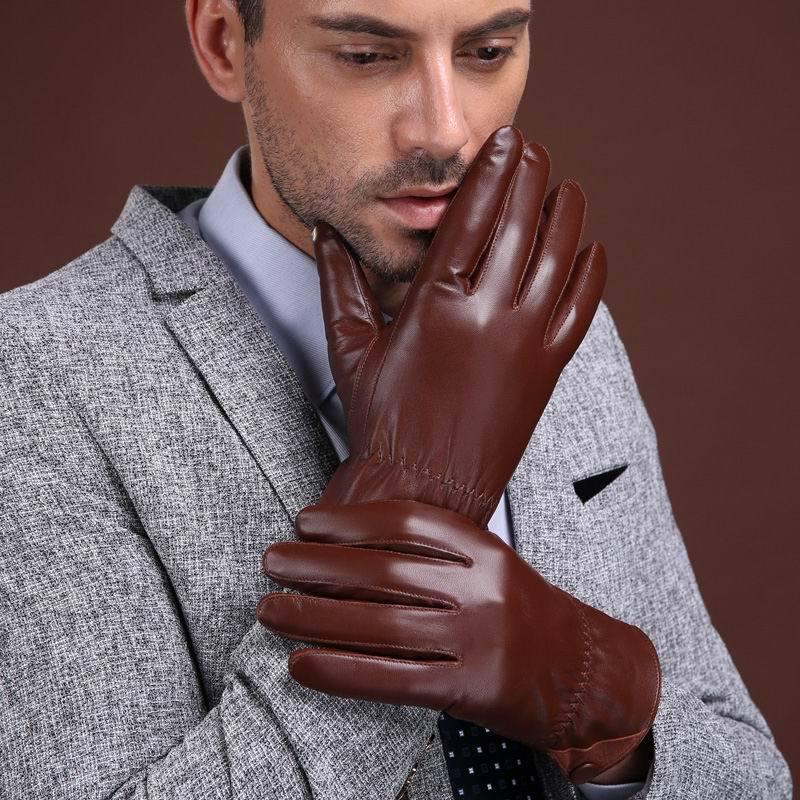 Genuine Leather Warm Gloves Men Winter Thick Driving Plus Velvet Gloves Thickening Goat Leather Gloves GR 8008 5