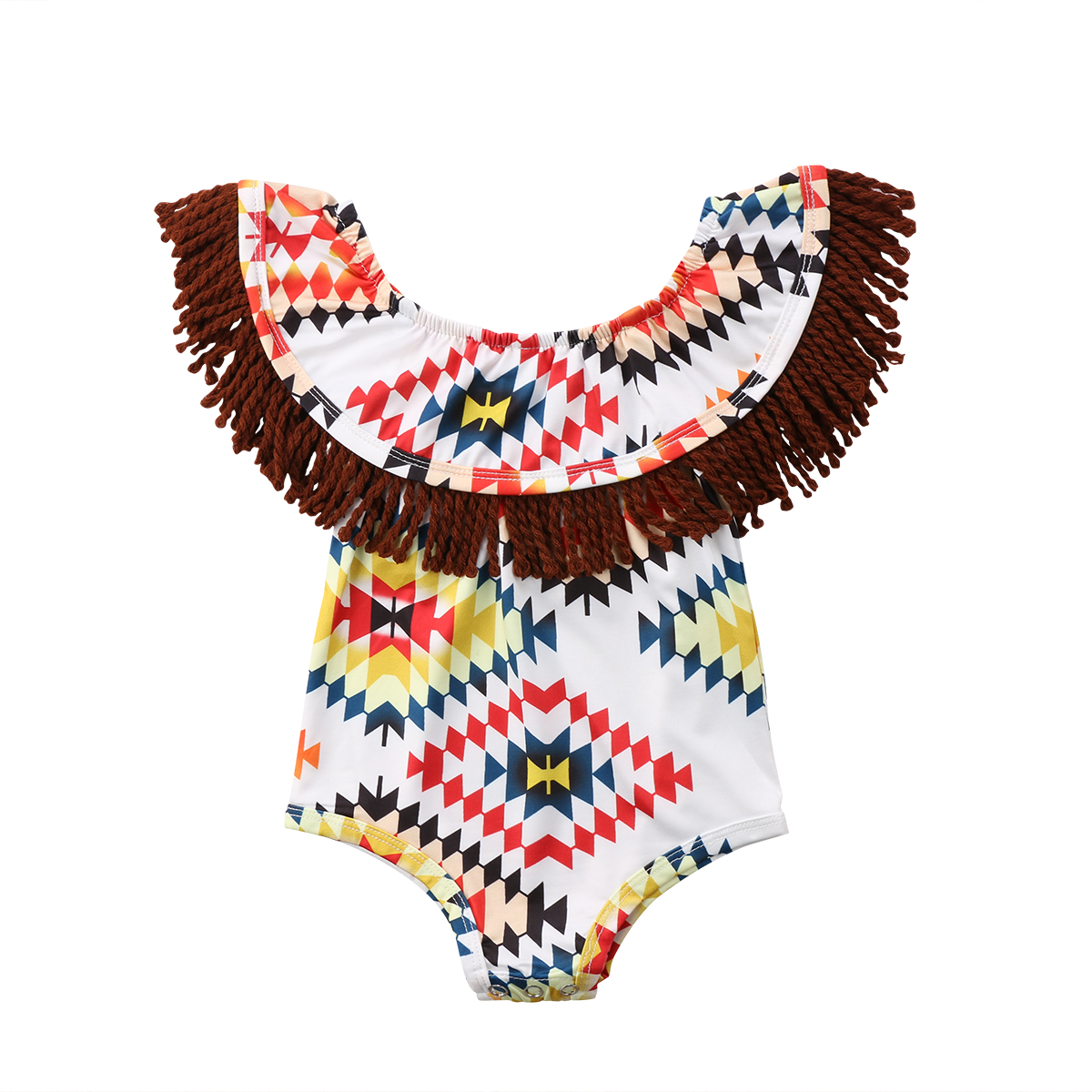 Pudcoco New Boho Newborn Baby Girls Floral Tassel Off shoulder Romper Summer Vintage infant Girls Jumpsuit