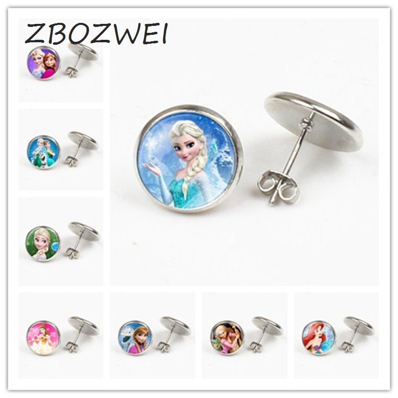 ZBOZWEI Brand Elsa Anna Ladies The Long Chain Jewelry Earring Crystal Cabochon Earring Snow Queen For Girls