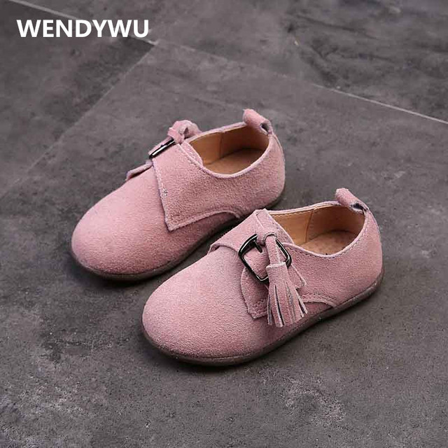 WENDYWU baby girls leather shoes for kid fashion tassel flats kids genuine leather shoes baby fringe suede