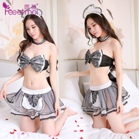 Women Sexy Erotic Lingerie Porn Baby Doll Maid Costume Lovely Bow Bra Uniform Cosplay Hot Sex Clothes Negligee Sleepwear