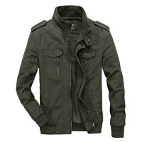 Spring Autumn American Military Jackets Men Casual Bomber Jacket Cotton Coat Office Business Leisure Jacket Plus Size M 6XL