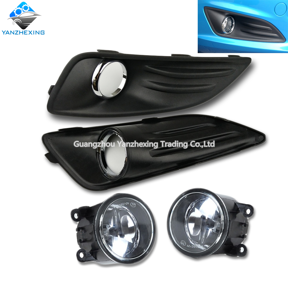 4pcs set car stying fog lamps front bumper lights and covers set for ford fiesta