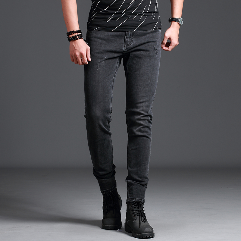 2018 New Mens Jeans Skinny Grey Dark Mens Jeans Fashion Smart Business Casual Wear Bouti ...