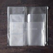 1 шт карманное наполнение на молнии для дневника на молнии для путешествий, чехол на молнии из ПВХ, прозрачный запасной пакет для кожаного дневника, многоразовый блокнот для путешественников