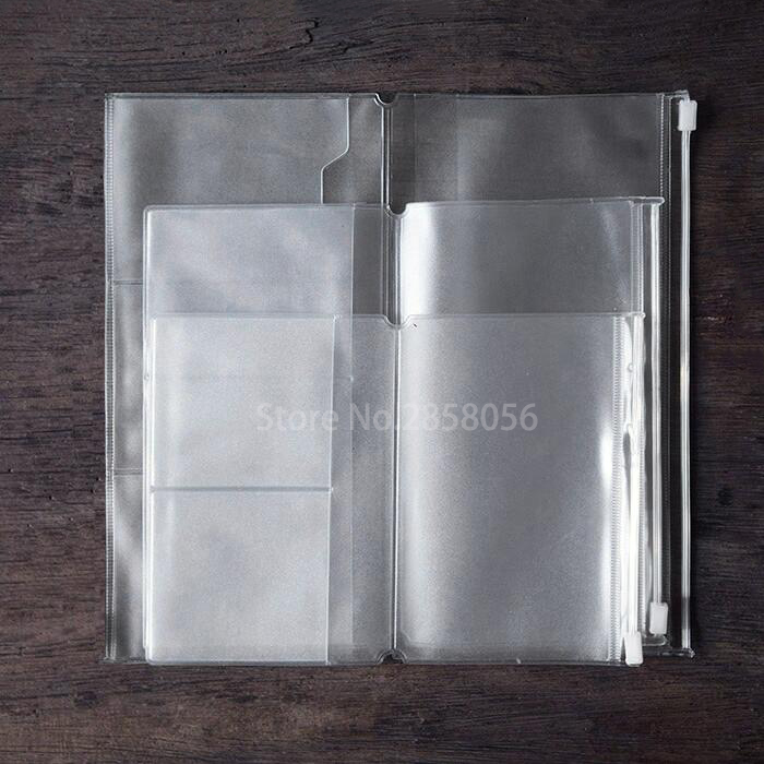1pcs Zipper Pocket Refill For Travele Diary Zipper Pouch PVC Clear Refill Pack For Leather Journal Refillable Travelers Notebook