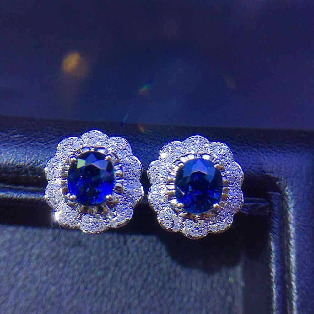 ต่างหูพลอยไพลินบริสุทธิ์จริง 18 K เครื่องประดับธรรมชาติ 100% Royal Blue Sapphire อัญมณีสตั๊ดต่างหูผู้หญิง