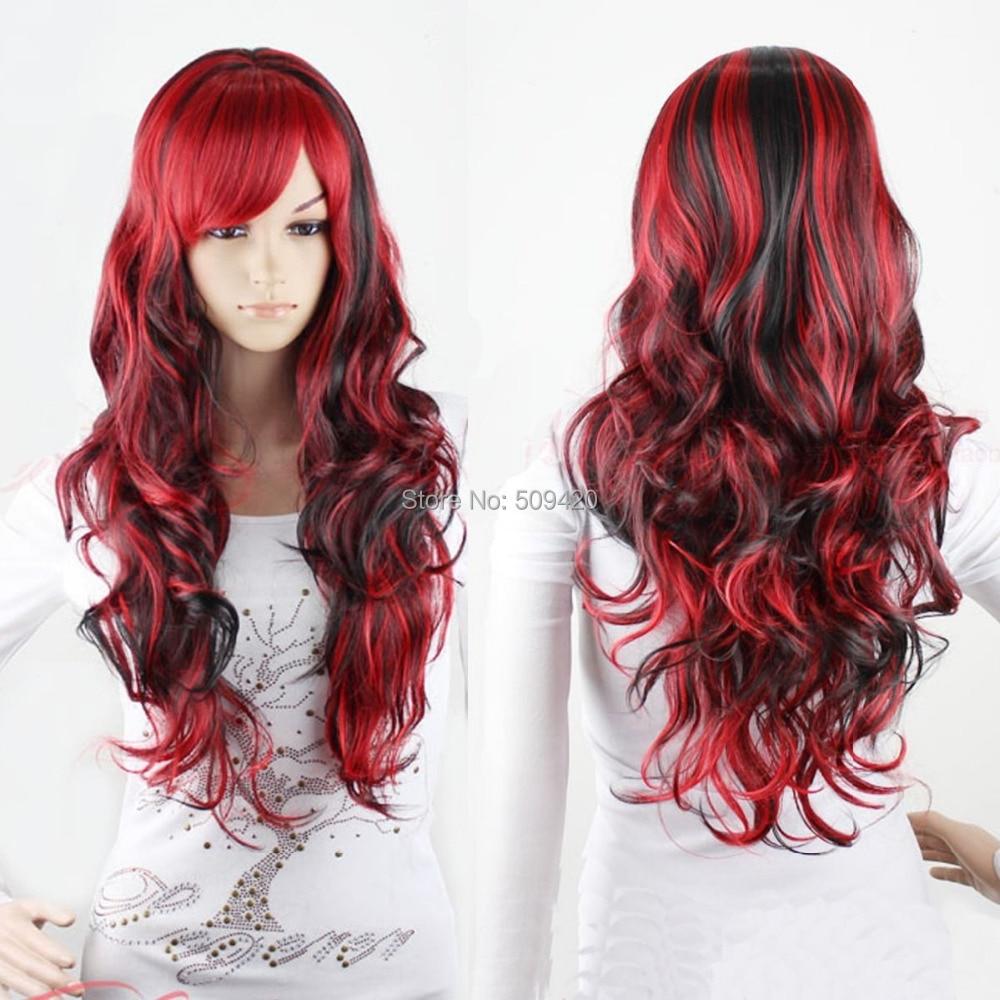 Fsx5982qhot Cool Lolita Wavy Curly Red Mix Black Hair Full Wigs