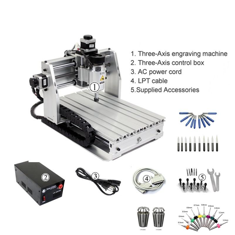 200W 3 axes CNC routeur mini fraisage gravure machine de découpe 2520 avec Mach3 ER11