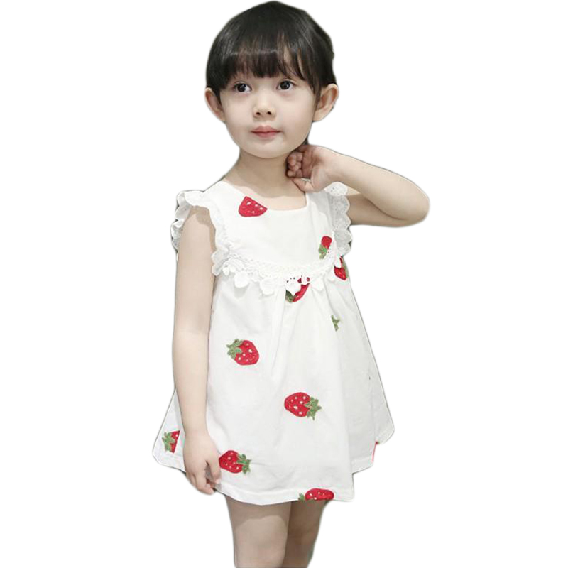 1 2 3 Years Baby Girl Dress Casual Summer Embroidery Flower Strawberry Baby Girls Clothes 2018 New Style Little Kids Dresses