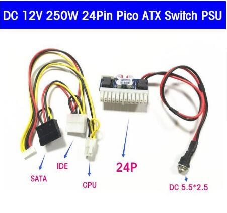 5PCS NEW DC 12V 160W Pico ATX 24PIN Switch PSU Car Auto Mini ITX DC TO DC PSU DC-ATX power module ITX Z1 Upgrade bonatech dip 8 power module offline switch black 5 pcs