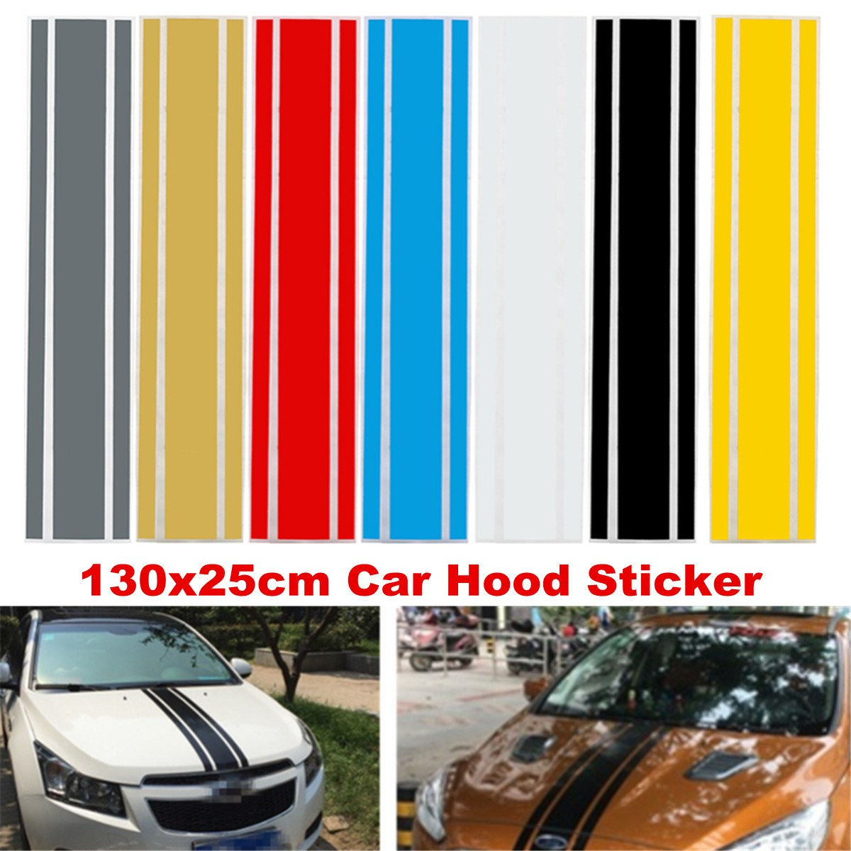7 color 130cm x 25cm car styling auto suv decal hood scratched sticker engine cover
